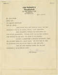 """Football Collectibles:Others, 1949 Jim Thorpe Signed Letter. The greatest athlete of the twentieth century's first half was managing an """"All Girl Softbal..."""