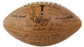 Football Collectibles:Balls, 1970 University of Texas Longhorns Team Signed Football. Astoundingly Mint football was purchased by a student at the campu...