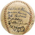 Autographs:Baseballs, 1929 Washington Senators Team Signed Baseball. While the club could never recapture the pennant after back-to-back American...