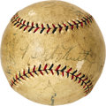 Autographs:Baseballs, 1927 New York Yankees Hall of Famers Signed Baseball. Four Yankee legends. Five signatures. One baseball, definitively si...