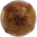"Autographs:Baseballs, 1932 New York Yankees Team Signed Baseball. Deeply toned ""Babe Ruth Home Run Special"" baseball takes on the appearance of f..."
