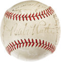 Autographs:Baseballs, 1934 American League All-Star Team Signed Baseball. The secondinstallment of the Midsummer Classic featured much the same l...