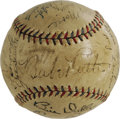Autographs:Baseballs, 1934 New York Yankees Team Signed Baseball. The final season in theBronx for the man who captivated the world with his thu...