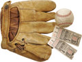 Baseball Collectibles:Others, 1934 Tex Carleton World Series Game Used Glove, St. Louis Cardinals Team Signed Baseball & World Series Ticket Stubs (2). R... (Total: 3 Items)