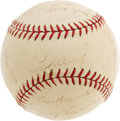 Autographs:Baseballs, 1937 New York Yankees Team Signed Baseball. With five members occupying the top ten position of the Most Valuable Player vo...