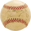 Autographs:Baseballs, 1937 New York Yankees Team Signed Baseball. The Yanks made it adull pennant race this season, taking the American League f...
