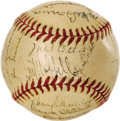 Autographs:Baseballs, 1938 New York Giants Team Signed Mini Baseball. Pint-sized version of an ONL (Frick) ball carries appeal that belies its ab...