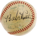 """Autographs:Baseballs, 1939 World Series Signed Baseball with Ruth, DiMaggio. A mixture ofYankees and Reds autographs and vintage """"1939"""" notation..."""
