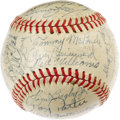 Autographs:Baseballs, 1946 Boston Red Sox Team Signed Baseball. The great Ted Williamssampled his only taste of October action this season, thou...