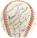 Autographs:Baseballs, 1949 New York Yankees Team Signed Baseball with Maris. Though he was just fifteen when this Yankee team earned the first of...