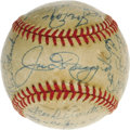 Autographs:Baseballs, 1950 New York Yankees Team Signed Baseball. An apparent game usedball (though the ball's stamping has faded from existence...