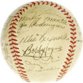 Autographs:Baseballs, 1952 New York Yankees Team Signed Baseball. With the great JoeDiMaggio settling into retirement, the Yankee spotlight woul...
