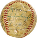 Autographs:Baseballs, 1953 New York Yankees Team Signed Baseball. The Yanks would make itfive World Championships in a row this season, establis...