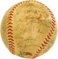 Autographs:Baseballs, 1955 Brooklyn Dodgers Team Signed Baseball. The Bums are bums nomore, finally topping the Yanks after a streak of five hea...