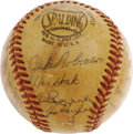 "Autographs:Baseballs, 1955 Brooklyn Dodgers Team Signed Baseball. There was finally joyin ""Bum-ville"" this year, as the Boys of Summer stopped t..."