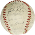Autographs:Baseballs, 1956 Brooklyn Dodgers Team Signed Baseball. Another National League Championship for the beloved Bums, sadly followed by an...