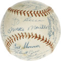Autographs:Baseballs, 1956 New York Yankees Team Signed Baseball. A season bestremembered for Mickey Mantle's Triple Crown Award, and DonLarsen...
