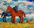 Fine Art - Painting, American, DAVID BURLIUK (Ukrainian/American, 1882-1967). Two Mules.Oil on canvas. 9 x 11 inches (22.9 x 27.9 cm). Signed and insc...