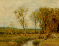 BRUCE CRANE (American, 1857-1937) Autumn in the Mohawk Valley, New York Oil on canvas 12 x 16 in