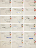 Autographs:Post Cards, 1980's Hall of Famers Signed Plaques Lot of 73 with Clemente FirstDay Stamping....