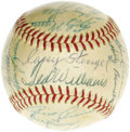 Autographs:Baseballs, 1957 American League All-Star Team Signed Baseball. No shortage of Hall of Fame talent here, as this OAL (Harridge) ball pr...