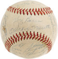 Autographs:Baseballs, 1958 New York Yankees Team Signed Baseball. The Bombers avenged their loss to Milwaukee in the 1957 Series this year, final...