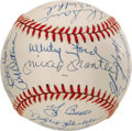 Autographs:Baseballs, 1961 New York Yankees Team Signed Baseball. The authors of perhapsthe most thrilling post-war chapter of Yankee history jo...