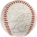 Autographs:Baseballs, 1965 Los Angeles Dodgers Team Signed Baseball. A final WorldChampionship season for Hall of Fame manager Walt Alston, who ...