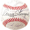 Autographs:Baseballs, 1966 Hall of Famers Multi-Signed Baseball. The ageless baseballguru Casey Stengel is appropriately afforded the sweet spot...
