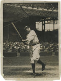 Baseball Collectibles:Photos, 1922 Babe Ruth Culver Service Photograph, Type 1. The young Bambinowatches one fly at Manhattan's Polo Grounds, the Yankee...