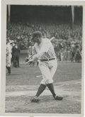 Baseball Collectibles:Photos, Early 1920's Babe Ruth Culver Service Photograph, Type 2. Ruthtwists himself into a knot as he completes a swing during pr...