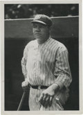 Baseball Collectibles:Photos, Early 1920's Babe Ruth Culver Service Photograph, Type 2. Fantasticyouthful portrait finds the Babe posing at the dugout s...