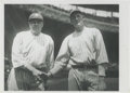 Baseball Collectibles:Photos, Early 1920's Babe Ruth & Bob Meusel Culver Service Photograph, Type 2. The massive grandstands of the Polo Grounds rise up ...