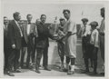 Baseball Collectibles:Photos, Early 1920's Babe Ruth Culver Service Photograph, Type 2. The Babe is presented with a trophy from sporting goods manufactu...