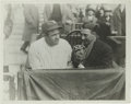 Baseball Collectibles:Photos, 1920's Babe Ruth Culver Service Photograph, Type 1. The Babe sitsin the broadcasting booth at Yankee Stadium for an interv...