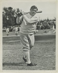 Baseball Collectibles:Photos, Early 1930's Babe Ruth Culver Service Photograph, Type 1. Thelegendary Yankee takes a practice swing for the press photogr...