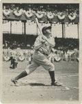 Baseball Collectibles:Photos, Early 1930's Babe Ruth Culver Service Photograph, Type 1. The Babewatches one fly as the bunting decorating the grandstand...