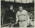 Baseball Collectibles:Photos, 1935 Babe Ruth Culver Service Photograph, Type 1. The Babe poseswith a female fan during his lone, final season in a Bosto...