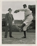 Baseball Collectibles:Photos, 1941 Satchel Paige & G.C. Alexander Wire Photograph, Type 1.Seven years before he would take the mound at Yankee Stadium a...