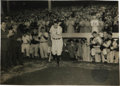 Baseball Collectibles:Photos, 1948 Babe Ruth Oversized Culver Service Photograph, Type 1. Snappedonly moments before the Pulitzer Prize-winning image by...