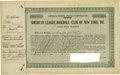 Autographs:Others, 1915 New York Yankees Stock Certificate Number One. Arguably asimportant as the acquisition of Babe Ruth to the ascension ...