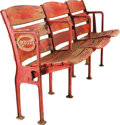 Baseball Collectibles:Others, 1935 Crosley Field Stadium Seats Trio with Figural Side. From 1935through 1970 these three seats bore witness to everythin... (Total:3 Items)