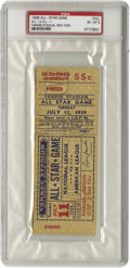 """Baseball Collectibles:Others, 1939 All-Star Game Full Ticket, PSA EX-MT 6. Just a week after Lou Gehrig named himself """"the luckiest man on the face of th..."""