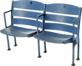 Baseball Collectibles:Others, 1940's Yankee Stadium Double Seat. Removed from the venerable Bronxballpark during the mid-1970's renovations, this pair o... (Total:2 Items)