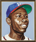 Baseball Collectibles:Others, Hank Aaron Portrait from the 500 Home Run Club Series by AndyJurinko. The all-time Home Run King who overcame tremendous a...