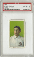 Baseball Cards:Singles (Pre-1930), 1909-11 T206 Chief Bender Portrait PSA NM-MT 8. Bender's careerwith the Athletics included two seasons as league leader in...