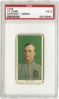 1909-11 T206 Ty Cobb Green Portrait PSA VG 3. His skill as a hitter is almost overshadowed by his reputation as the fier...