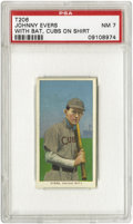 "Baseball Cards:Singles (Pre-1930), 1909-11 T206 Johnny Evers With Bat, Cubs On Shirt PSA NM 7. Theslightly-built but temperamental Evers was nicknamed ""The C..."