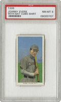 Baseball Cards:Singles (Pre-1930), 1909-11 T206 Johnny Evers With Bat Cubs Shirt PSA NM-MT 8. Evershad identical .350 World Series averages in 1907 and 1908,...