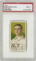 Baseball Cards:Singles (Pre-1930), 1909-11 T206 Rube Marquard Portrait PSA NM 7. One of three Hall ofFame pitchers, along with Christy Mathewson and Iron Joe...